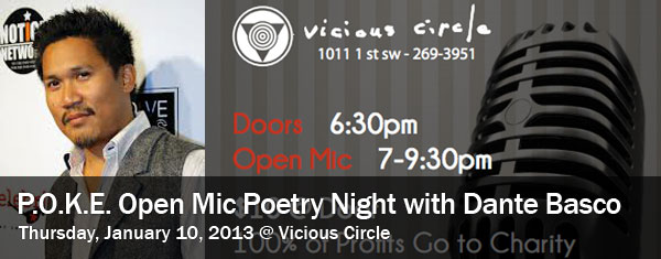POKE Open Mic Poetry Night with Celebrity Guest Dante Basco – Thursday, January 10 2013